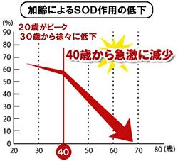 加齢によるSOD作用の低下